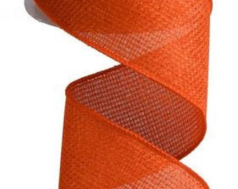 "2.5""X10yd Cross Royal Burlap Wired Edge Ribbon ( orange )"
