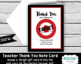 Digital THANK YOU Note Card - TARGET Gift Card Holder, Teacher Appreciation, Teacher Gifts, Printed Thank You Cards, Stationery