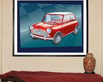 "1964 Mini Cooper 24""w x 30""h Giclee"