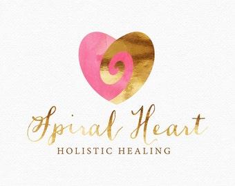 Spiral Heart Logo Design , Spiral Logo , Pink and Gold, Holistic Logo, Healer Logo , Doula Logo, Spiritual Logo , Photography Logo