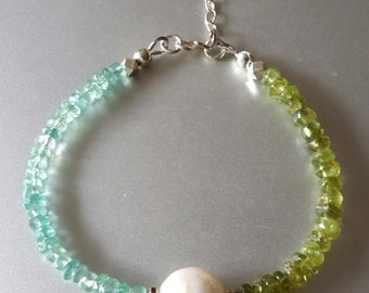 Peridot and Apatite BRACELET with Baroque Pearl, Extender Chain and Flower Charm