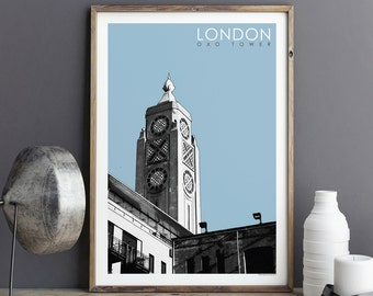 London Art Prints - Travel Poster - Large Wall Art Prints - Oxo Tower - Minimalist Prints - Architectural Print - A3 print - A2 Print