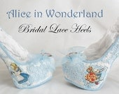 John Tenniel's Classic 1865 Alice In Wonderland Lace Fabric Custom Heel Ribbon Blue Shoe Flat Size 3 4 5 6 7 8 Wedding Bridal Heel UK Women