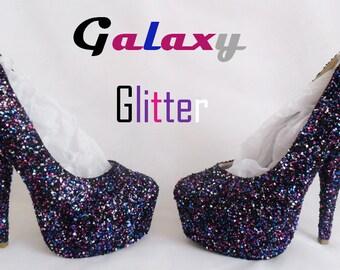 Galaxy Chunky Glitter Custom Personalized Womens Handmade Glitter Shoe High Heel Stiletto Thin Size 3 4 5 6 7 8 Platform Party Christmas UK