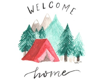 """Camping Watercolor Art Print 