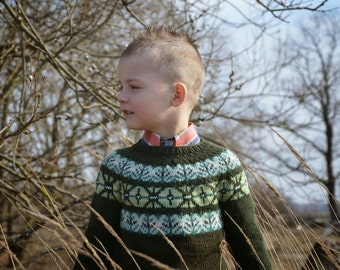 Fair isle sweater Icelandic sweater Knit sweater for boy or girl Green cashmere sweater Jumper All Sizes available Made to order