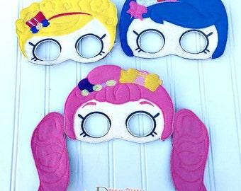 Shopkins Shoppies inspired three piece mask set. Jessicake, Popette, Bubbleisha