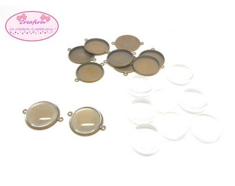 10 bronze cabochon 18mm and 10 cabochons glass connectors