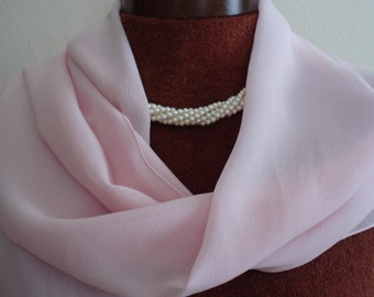 VINTAGE Pastel Pink Long Sheer SCARF. Pale Pink Chiffon like Shoulder Wrap. Wedding Party Wrap. Formal Party Scarf.