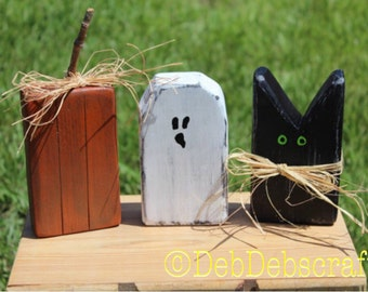 Rustic Halloween Blocks Halloween Decor Black Cat Wooden Ghost Wood  Pumpkins Halloween Party Decor Primitive Halloween