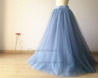 Dusty Blue Tulle Skirt/Floor Length Tulle /Adult Women Tulle Skirt Long Skirt//Wedding Dress/Bridesmaid/Bachelorette TuTu