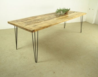 Reclaimed Wood Dining Table, Modern and Industrial Home furiniture piece, The GRAND KENT at 2.5 Metres long with sturdy Hairpin Steel Legs
