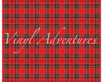 "Tartan Plaid Pattern Vinyl, Red Black Plaid Vinyl, 12""x12"", Outdoor Permanent Adhesive Vinyl, Oracal 651"