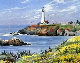 Pigeon Point Lighthouse Art Print - Watercolor Painting - Signed by Artist DJ Rogers - Wall Decor