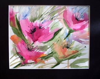 Floral Watercolor, Original watercolor.. Mat Included
