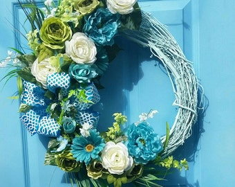 Silk Flower Front Door Wreath - Everyday Wreath - Summer Wreath - Floral Grapevine Wreath - Bright Blue, Teal, Green, White - Blue Wreath