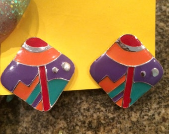 Vintage 80s/90s Color Block Earrings