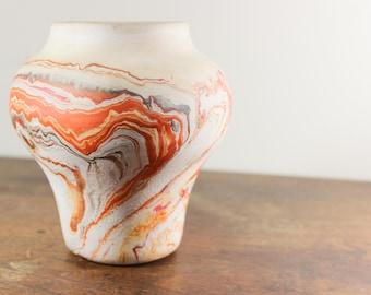 Nemadji Pottery Vase, Vintage Clay Vase, Southwestern Style- Orange- Ohio - Rustic Home Decor, Orange Brown