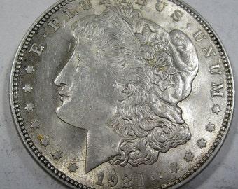 1921 silver Morgan dollar coin grades MS 60 (#E14d)