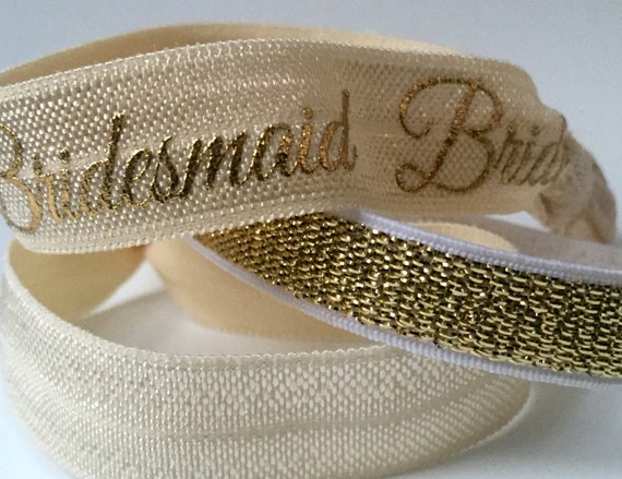Ivory and Gold Bridemaid Hair Tie Set
