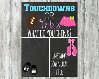 Touchdowns or tutus - baby shower game - baby shower decor - gender reveal - sign - cast your vote - printable -  instant download