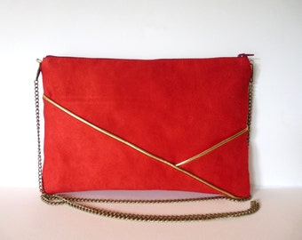 Pouch, shoulder bag red and gold graphics