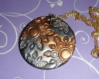 Gold & silver clay necklace