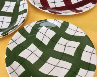 Vintage English Harlequinade Empire Porcelain Co, set of 4 mid-century plates