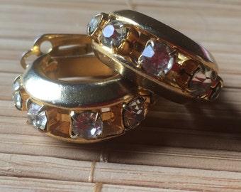 Clip On Vintage Earrings Clear Rhinestones & Gold Tone Metal/80s/Wedding earrings