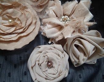 5 Handmade raw silk flowers