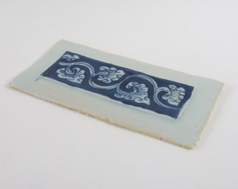 Antique Chinese porcelain blue and white plaque. Furniture panel?