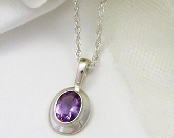 Amethyst Gemstone Necklace, Amethyst Birthstone Necklace, Amethyst Pendant, Amethyst Gift for Mother, Amethyst Jewelry, February Birthstone