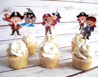 12 Set Pirate Themed Cupcake, Cake, Toppers, Picks, Party Picks DOUBLE SIDED