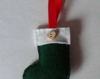 Hand sewn felt stocking tree decoration