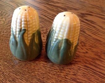 Vintage Corn King salt and pepper shakers, Shawnee pottery, Corn pattern