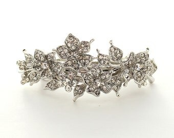 Bridal Hair Clip Rhinestone Barrette Crystal Wedding Hair Jewelry Bridal Hair Accessory Silver Barrettes