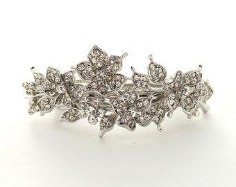 Bridal Hair Barrette, Crystal Rhinestone Hair Clip, Silver Wedding Hair Accessories, Floral Barrette, Wedding Hair Clip, Bridal Hair Clip