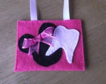 Felt tooth fairy pouch Minnie inspired