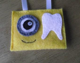 Felt tooth fairy pouch Minion inspired