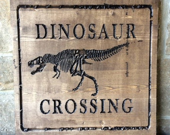 Carved wood wall wall hanging, dinosaur, dinosaur crossing sign, READY TO SHIP