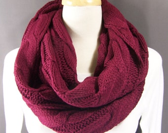Dark Red cable knit infinity scarf soft chunky knit circle endless loop long circular burgundy maroon scarf cabled scarf fall winter scarf