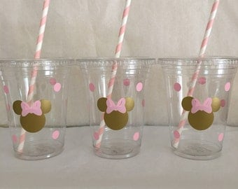 Minnie Mouse pink and gold party cups, Gold and Pink Minnie party cups,  Pink and Gold Minnie Mouse Party cups