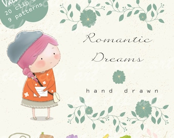 Hand Drawn Vintage Clipart/Flower Clipart/Girl Clipart/Romantic Dreams Clipart and Digital Paper Value Pack