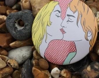 Kiss Pop Art Badge, Pocket Mirror or Fridge Magnet