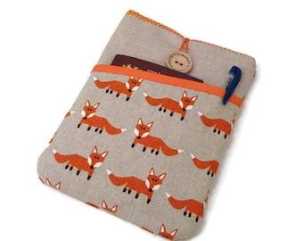 Nook Glowlight case foxes, Kobo Glo fabric case, Kobo Aura sleeve, Kobo Touch Padded bag Kindle Fire case orange foxes
