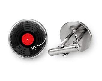 Vinyl DJ Cufflinks Vinyl Record Cufflinks (with jewelry box)