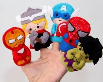 Avengers Felt Finger Puppets /finger puppets / felt toys/ quiet play avengers/ birthday party favors,puppets