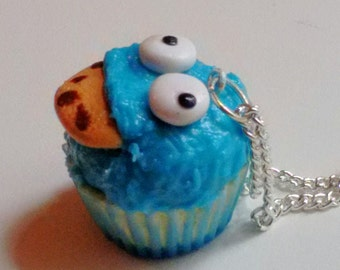 Cookie Monster Cupcake Necklace - Miniature Food Jewelry - Inedible Jewelry, Kawaii Jewelry, Sesame Street Jewelry, Kid's Jewelry, Fake Food