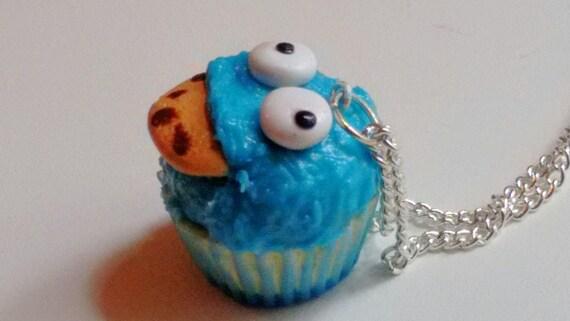 Cookie Monster Cupcake Necklace - Miniature Food Jewelry - Inedible Jewelry, Kawaii Jewelry, Sesame Street Jewelry, Kid's Jewelry, Fake Food