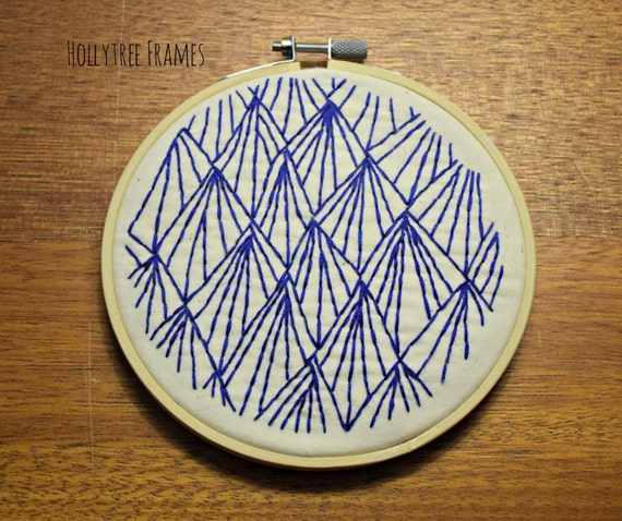 Blue Lines Geometric Embroidery, Hoop Art, Embroidery Art, Hand-Stitched Embroidery, Abstract, 6 inch Hoop